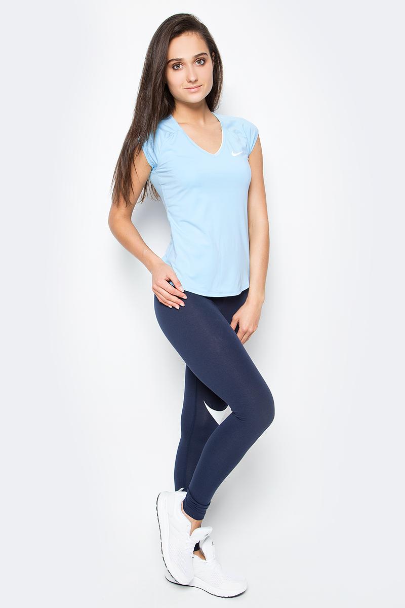 Футболка женская Nike Pure Top, цвет: голубой. 728757-499. Размер XS (40/42)728757-499Женская футболка для тенниса Pure Top от Nike выполнена из мягкого текстиля Dri-Fit, отводящего влагу от поверхности тела, сохраняющего тело сухим. Модель прилегающего кроя с короткими рукава-реглан и V-образным вырезом горловины оформлена фирменным логотипом.