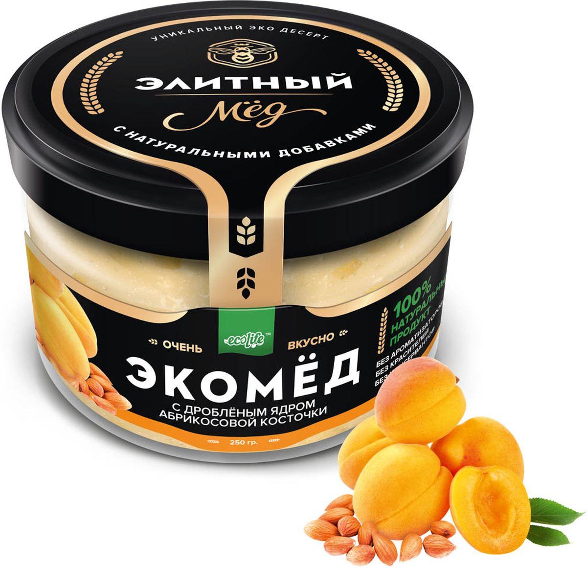 Ecolife Экомед с ядрами абрикосовой косточки, 250 г4665298961806100% натуральный экопродукт, имеющий в составе только натуральные ингредиенты. При изготовлении не используется дешевый подсолнечный мёд. Мед не нагревается, сохраняются все его полезные свойства. Экомёд не имеет эффекта расслаивания.Целебные сорта мёда. Статья OZON Гид