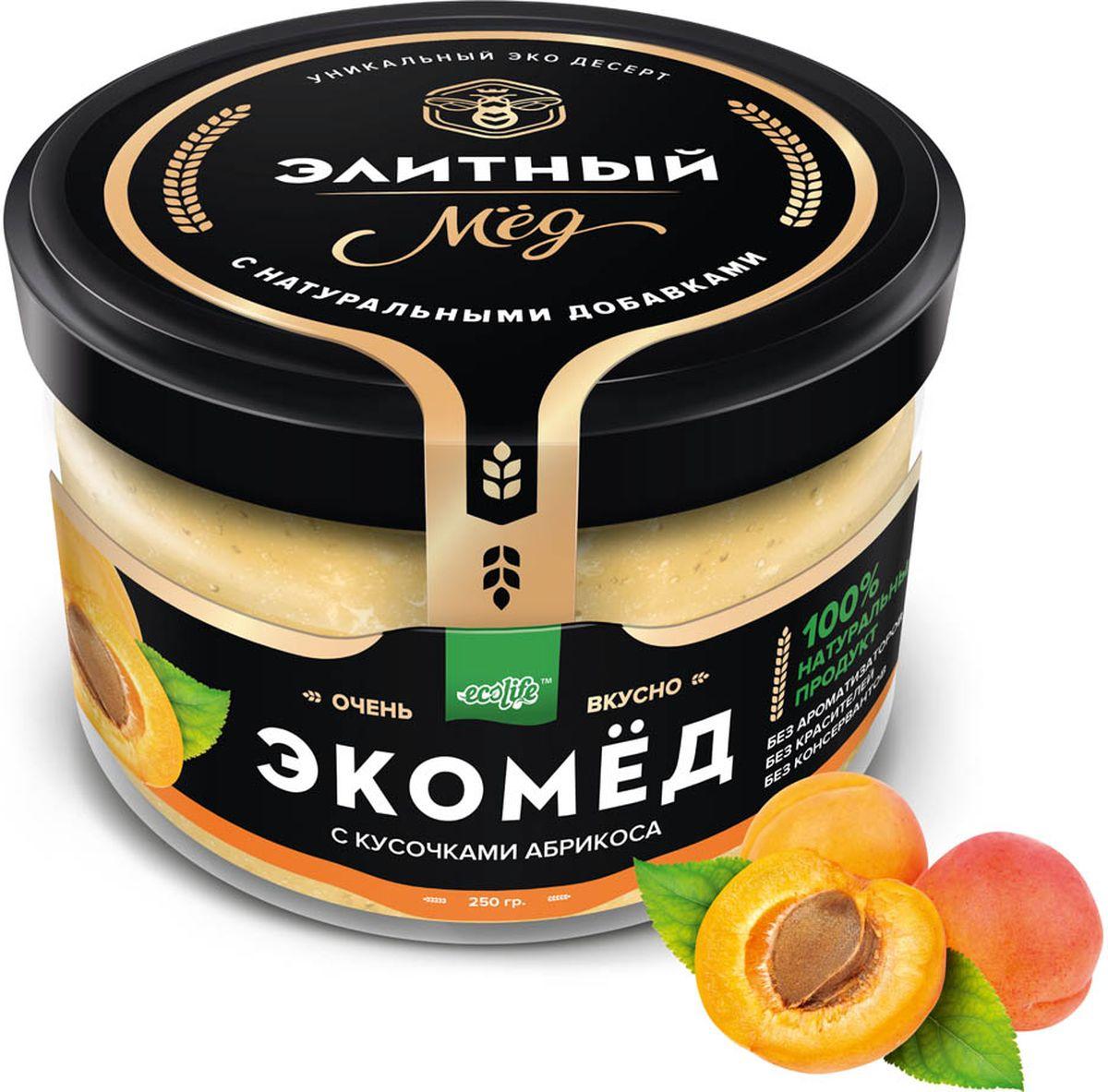 Ecolife Экомед c абрикосом, 250 г4665298962841100% натуральный Экопродукт, имеющий в составе только натуральные ингредиенты. Без красителей. Без ароматизаторов. Без консервантов.Целебные сорта мёда. Статья OZON Гид