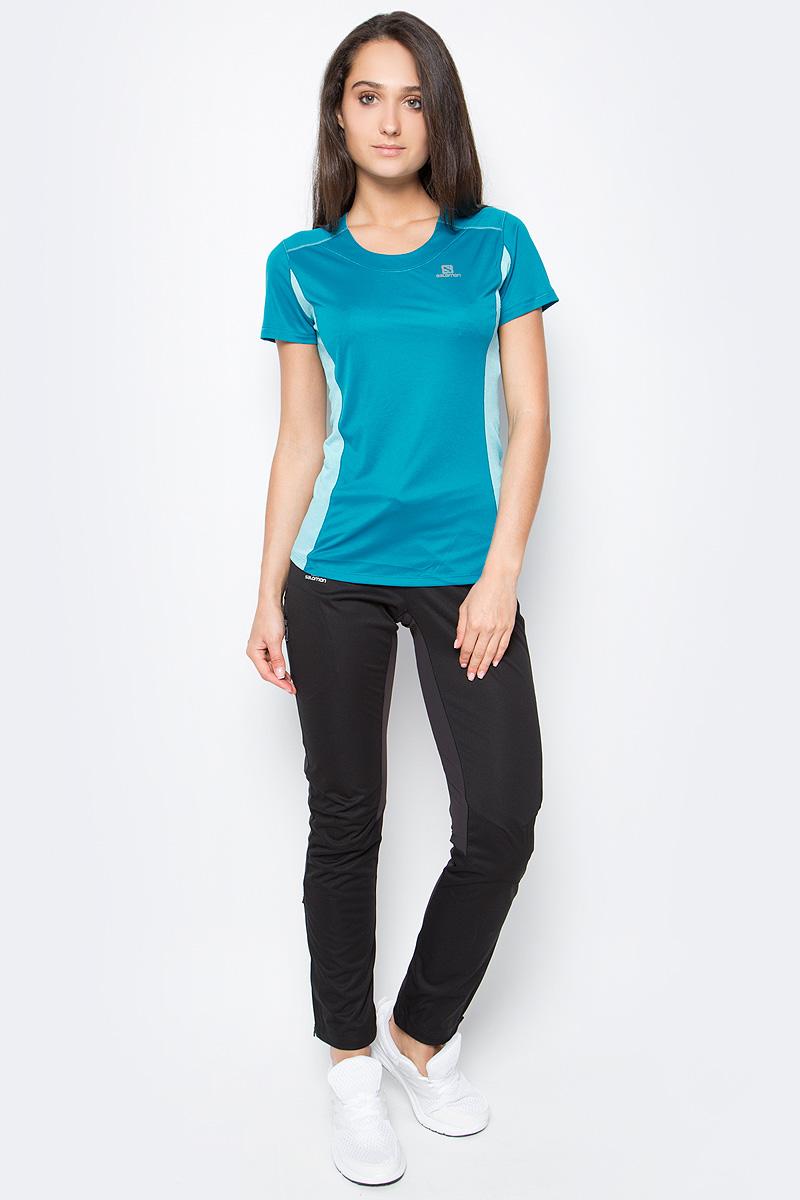 Футболка женская Salomon Agile SS Tee, цвет: голубой. L39253300. Размер M (44/46) agile manufacturing
