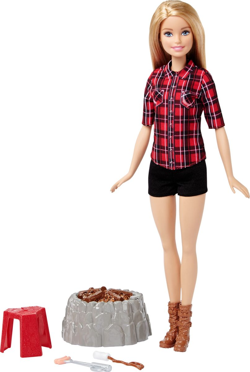 Barbie Игровой набор с куклой У костра цвет рубашки красный аксессуары для кукол barbie одежда весна