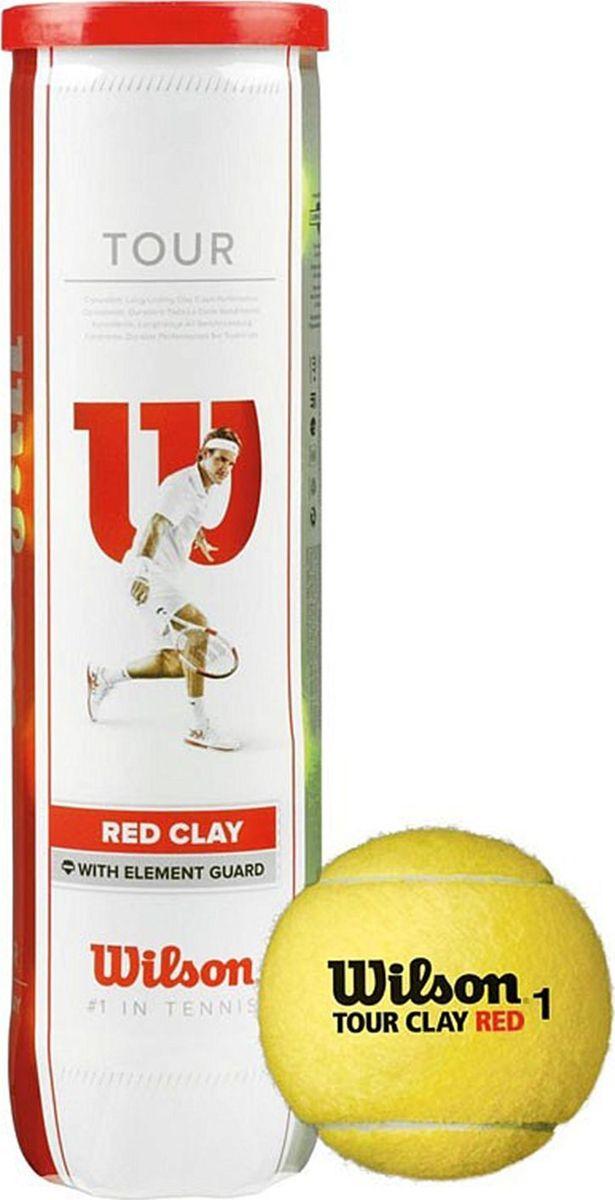 Мяч теннисный Wilson Tour Clay Red, 4 шт мячи теннисные wilson tour clay red wrt110800