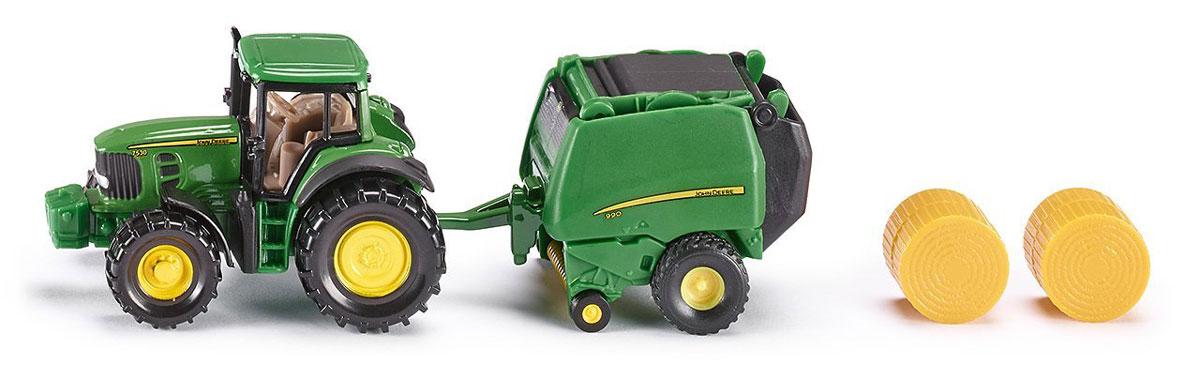 Siku Трактор John Deere с пресс-подборщиком трактор tomy john deere зеленый 19 см с большими колесами звук свет