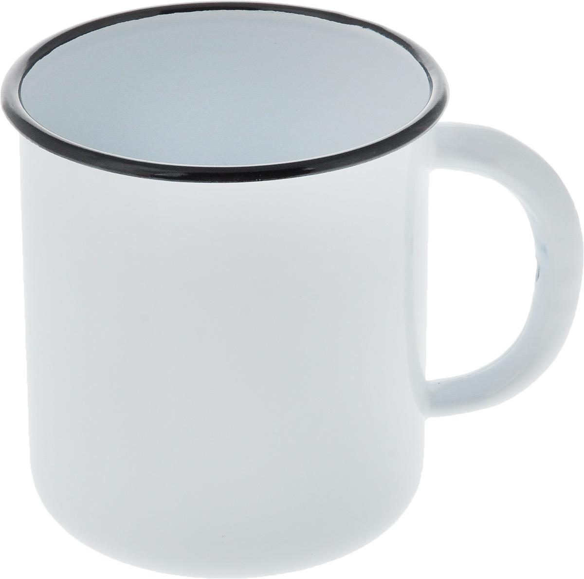 Кружка эмалированная СтальЭмаль, цвет: белый, черный, 1 л