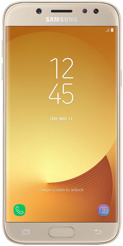 Samsung SM-J530F Galaxy J5 (2017), GoldSM-J530FZDNSERРазработанный с самым пристальным вниманием к деталям, смартфон Samsung Galaxy J5 получил полностью металлический корпус с нулевым выступом камеры, благодаря чему смартфон удобно держать одной рукой, а также стекло с эффектом 2.5D на 5,2-дюймовом HD-дисплее, обеспечивая ему дополнительную защиту.Основная камера с разрешением 13 Мпикс и апертурой F/1.7 позволяет делать четкие фотографии с улучшенной детализацией даже при слабом освещении, а ее интуитивно понятный интерфейс позволяет делать снимки одной рукой благодаря возможности перемещения кнопки спуска затвора на экране.Samsung Galaxy J5 позволяет делать яркие и четки селфи с более точной детализацией даже в условиях недостаточной освещенности благодаря фронтальной LED-вспышке. Вы также можете управлять спуском затвора простым жестом руки.Samsung Galaxy J5 имеет 2 ГБ оперативной памяти и 16 встроенной памяти, которую можно расширить до 256 ГБ с помощью карты microSD. Благодаря этим характеристикам Galaxy J5 отличается отличным быстродействием и высокой скоростью реагирования, что позволяет ускорить выполнение повседневных задач.Samsung Cloud позволяет создавать резервные копии, синхронизировать, восстанавливать и обновлять данные с помощью смартфона Galaxy, чтобы вы могли получать доступ ко всему, что вам нужно, когда и где вам это нужно.Функция Secure Folder от Samsung - это мощное решение для обеспечения безопасности, которое позволяет создать личное и полностью зашифрованное пространство для хранения различного контента, такого как фотографии, документы и аудиофайлы с дополнительным уровнем защиты, доступ к которому будете иметь только вы.Настройте свой мессенджер под себя. Samsung Galaxy J5 позволяет настраивать две учетные записи для одного мессенджера с различными целями. Пользователи могут настраивать и легко управлять второй учетной записью мессенджера одновременно из главного экрана и меню настроек.Мобильные платежи теперь можно совершать еще более эффе