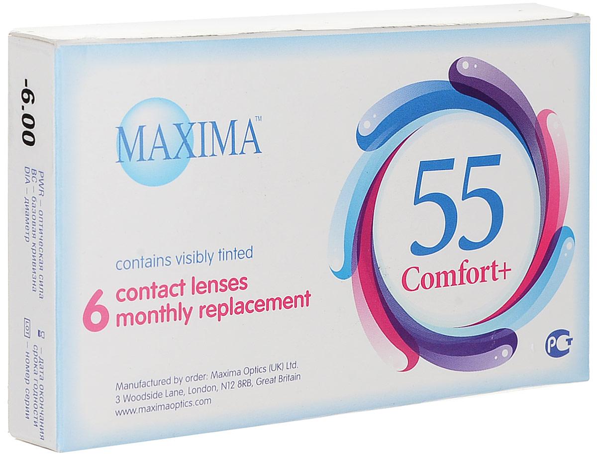 Maxima контактные линзы 55 Comfort Plus (6шт / 8.6 / -6.00)7657Контактные линзы Maxima 55 Comfort Plus - это линзы ежемесячной замены, имеющие асферический дизайн и изготовленные из биосовместимого материала. Эти контактные линзы разработаны специально для людей имеющих небольшую степень астигматизма, а также желающих ощущать чувство полного комфорта в течение целого дня. Асферическая поверхность контактной линзы помогает формировать более контрастное и четкое изображение. В Maxima 55 Comfort Plus все лучи, в том числе и проходящие через периферию, собираются вместе, тем самым минимизируя оптические искажения. Другим достоинством этих линз является материал из которого они изготовлены. Контактные линзы Maxima 55 Comfort Plus обладают низким уровнем образования отложений, превосходно удерживают воду и отлично пропускают кислород к роговице глаза. Все это стало возможно благодаря совершенно новому биосовместимому материалу, благодаря ему ношение контактных линз стало еще более удобным и комфортным. Замена через 1 месяц. Характеристики:Материал: хайоксифилкон А. Кривизна: 8.6. Оптическая сила: - 6.00. Содержание воды: 57%. Диаметр: 14,2 мм. Количество линз: 6 шт. Размер упаковки: 11 см х 1,5 см х 6,5 см. Производитель: Великобритания. Товар сертифицирован.Контактные линзы или очки: советы офтальмологов. Статья OZON Гид
