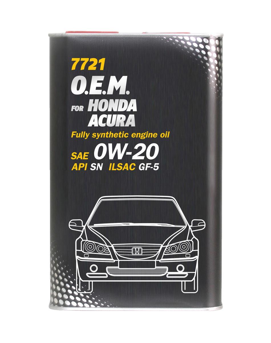 Моторное масло MANNOL 7721 O.E.M., для Honda и Acura, 0W-20, синтетическое, 4 л4070Моторное масло MANNOL 7721 O.E.M. - синтетическое моторное масло, предназначенное для всех типов двигателей HONDA и ACURA, в том числе оснащенных системами изменения фаз газораспределения VTEC. Является энергосберегающим, что способствует экономии топлива и увеличению мощности двигателя, обладает высокой стойкостью к окислению. Отличные низкотемпературные свойства обеспечивают легкий запуск двигателя. Продукт имеет допуски / соответствует спецификациям / продуктам:SAE 0W-20API SNILSAC GF-5HONDA 08217-99974GM dexos1