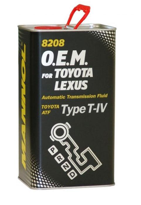 Трансмиссионное масло MANNOL 8208 O.E.M., для Toyota и Lexus, синтетическое, 4 л3043Синтетическое трансмиссионное масло MANNOL 8208 O.E.M. - универсальное всесезонное масло высочайшего качества, разработанное для использования в автоматических коробках передач, для которых автопроизводители предписывают использование жидкостей Toyota Type T-IV. Тщательно подобранные присадки и синтетические компоненты обеспечивают наилучшие фрикционные свойства в момент переключения скоростей, отличные низкотемпературные характеристики, высокую антиокислительную и химическую стабильность на всем сроке эксплуатации.