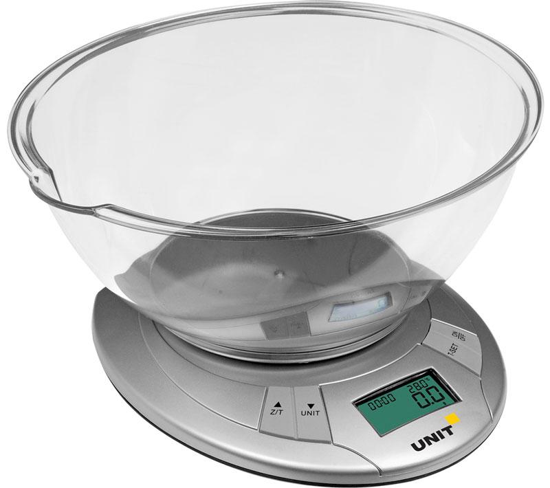 Unit UBS-2155 кухонные весыCE-0473309Кухонные весы Unit UBS-2155 с классическим дизайном станут незаменим помощником на кухне. Прибор предназначен для взвешивания продуктов массой до 5 кг, цена одного деления 1 грамм. Весы наделены такими функциями, как автоматическое выключение, тарокомпенсация и индикация заряда батареи.Цифровой жидкокристаллический дисплейИзмерение объема воды и молока