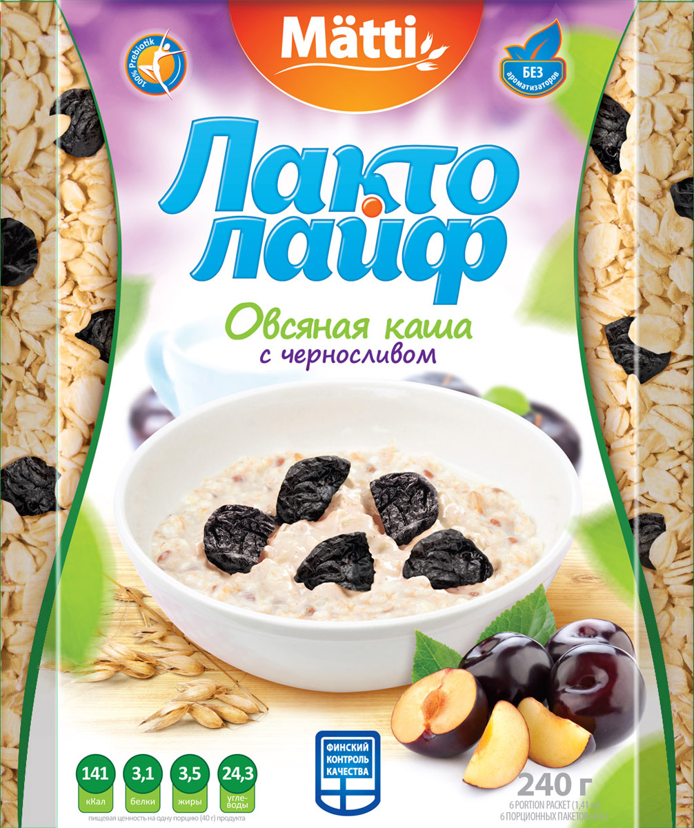 Лактолайф каша с черносливом, 6 шт по 40 г matti каша малина со сливками 15 шт по 40 г