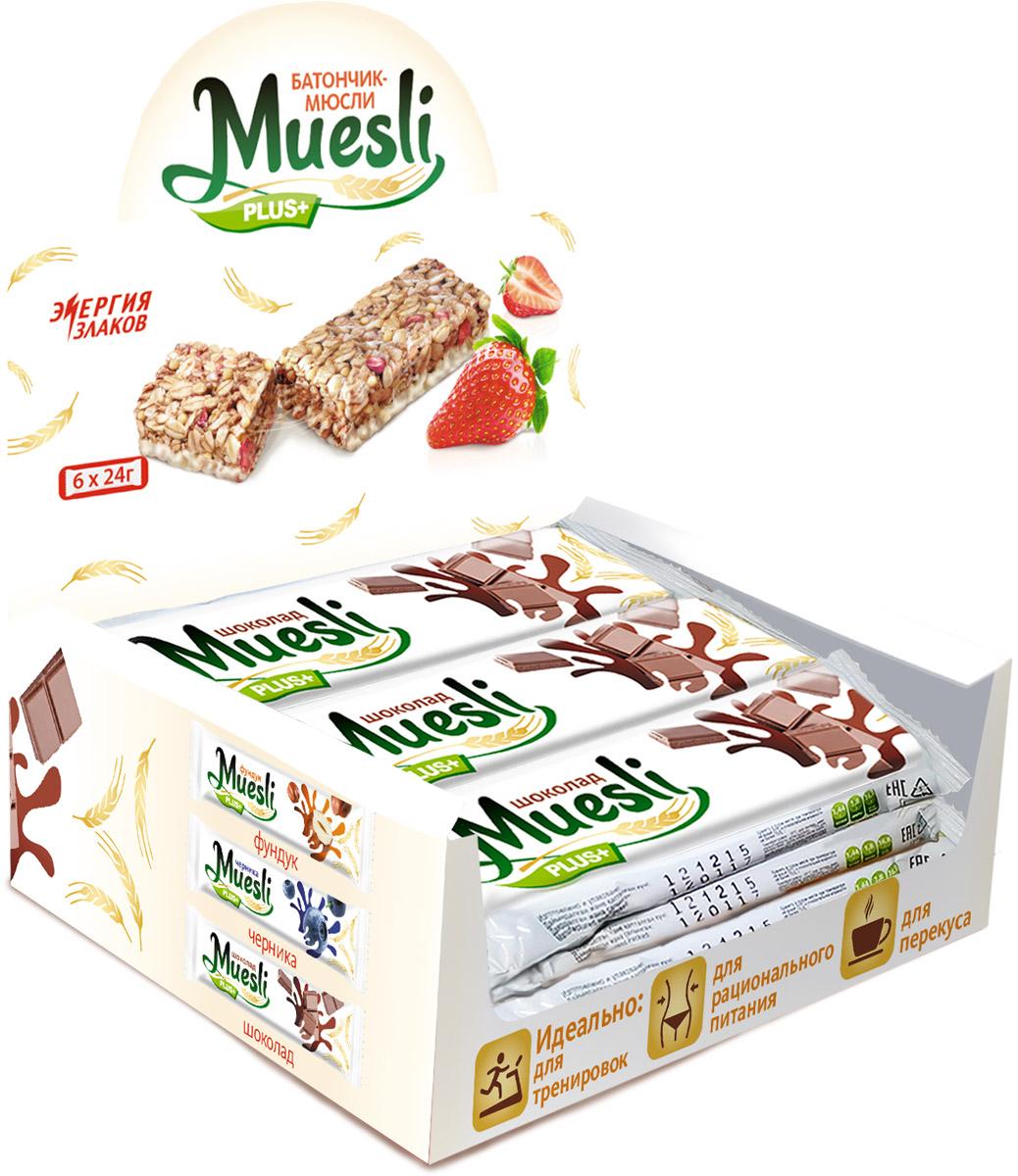 Matti Muesli Plus батончик мюсли шоколад, 6 шт по 24 г шоколад победа вкуса сливочный из сливок и цельного молока 100г