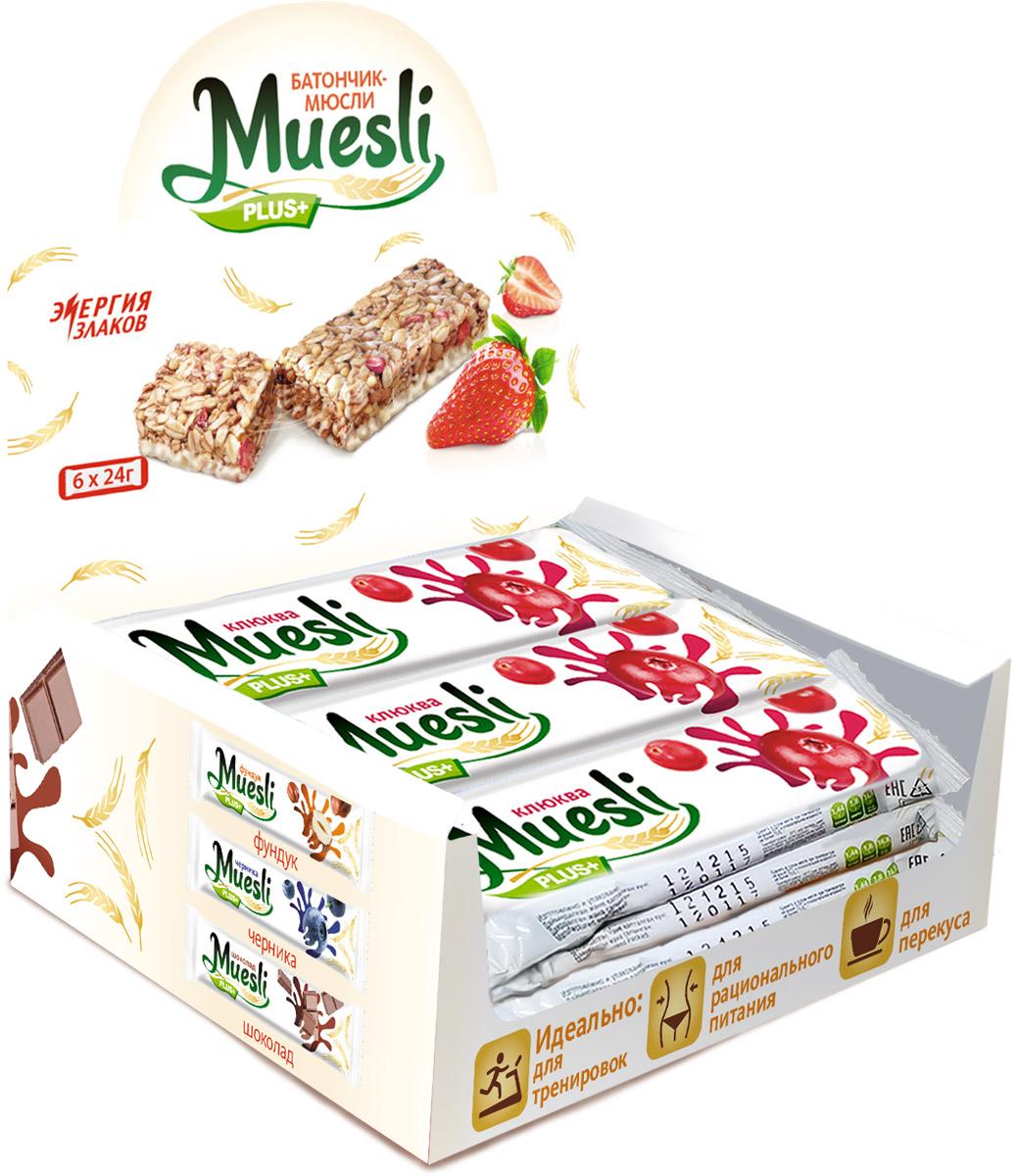 Matti Muesli Plus батончик мюсли клюква, 6 шт по 24 г легко батончик мюсли банан 27 г