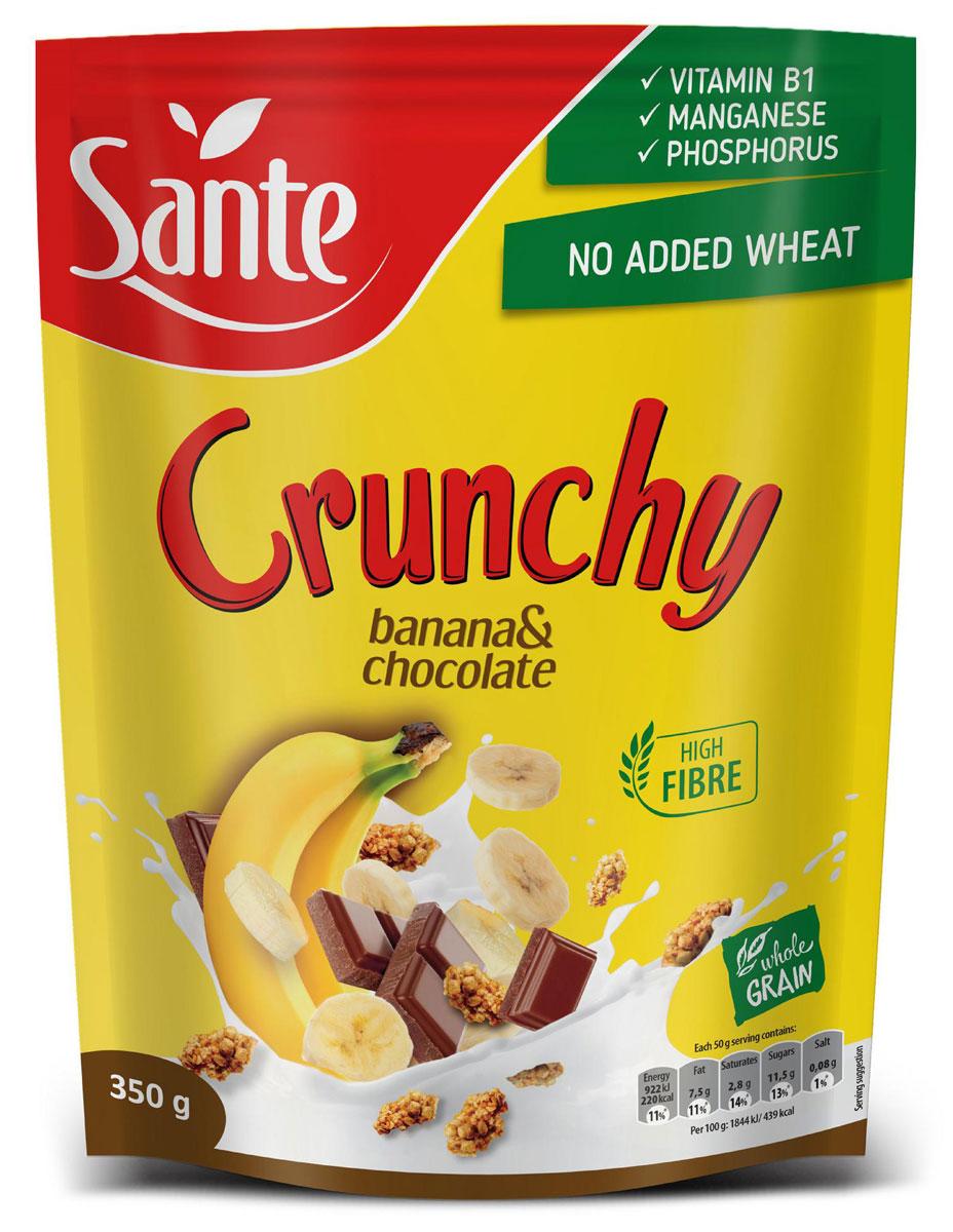 Sante Crunchy хрустящие овсяные хлопья с бананом и шоколадом, 350 г5900617002617_новый дизайнCrunchy – питательная смесь хрустящих, золотистых, нежно обжаренных овсяных хлопьев.Продукт обеспечивает сбалансированное питание за счет полезных ингредиентов: белок, клетчатка, растительные жиры с высоким содержанием полезных жирных кислот, витаминов, микро- и макроэлементов, которые помогают поддерживать энергию и тонус в течение всего дня.Основной элемент Crunchy - это цельнозерновой овес, который имеет более высокую питательную ценность по сравнению с другими злаками, такими как пшеница и рожь.Зерно овса богато белком, незаменимыми аминокислотами (особенно лизином, который отсутствует в других зерновых).Содержание фосфора, меди и фолиевой кислоты способствуют укреплению костей и зубов.Медь также улучшает процесс обмена веществ.А фолиевая кислота способствует правильному функционированию иммунной системы.