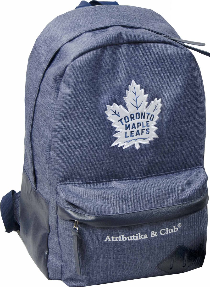 Рюкзак Atributika & Club Toronto Maple Leafs, цвет: синий меланж, 25 л. 5805258052Рюкзак Atributika & Club изготовлен из 100% полиэстера с отделкой искусственной кожей. Модель имеет одно основное отделение, которое закрывается на застежку-молнию. Внутри содержится отделение с мягкой стенкой для хранения ноутбука или планшета и 2 небольших накладных кармана. Спереди расположен объемной накладной карман на молнии. Спинка и лямки модели выполнены из прочного сетчатого материала, обладающего хорошей воздухопроницаемостью, и снабжены мягким наполнителем. Лямки снабжены пластиковыми элементами для регулировки размера. Модель украшена оригинальной вышивкой.