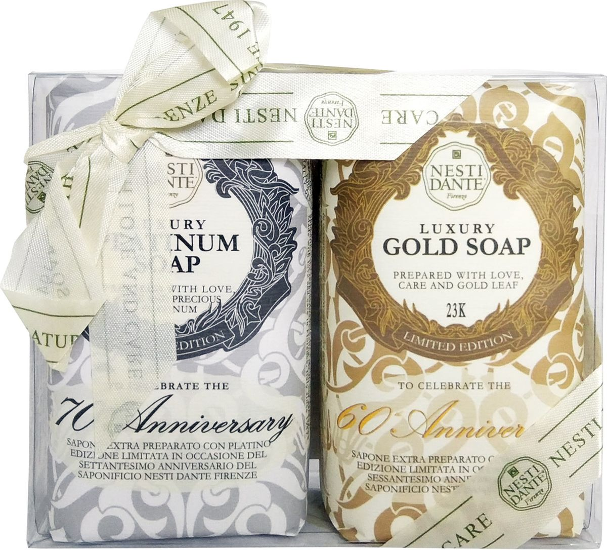 Nesti Dante Набор мыла Anniversary Platinum & Gold Юбилейное Платина и юбилейное золото, 2 х 250 г nesti dante мыло amorino soap мечта о море 150 г