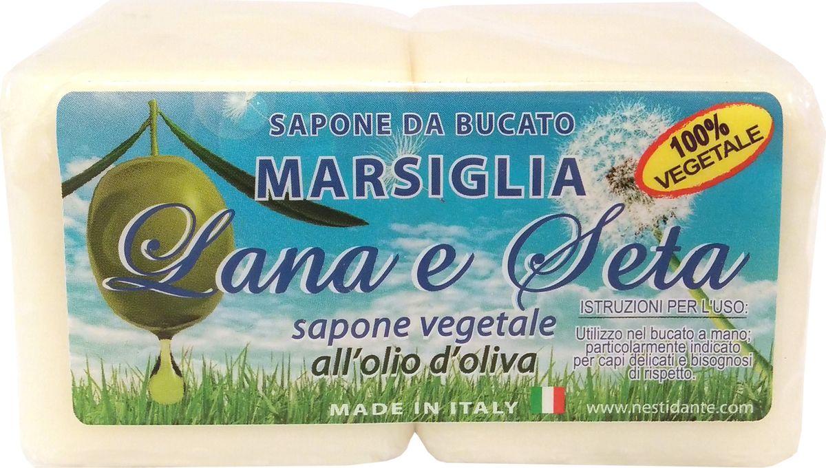Nesti Dante Мыло Lana & Seta with olive oil Laundry Soap Шерсть и Шелк, 2 х 150 г2010224Натуральное хозяйственное мыло белого цвета для стирки для деликатных тканей. В составе содержится глицерин, что способствует бережной защите рук при использовании