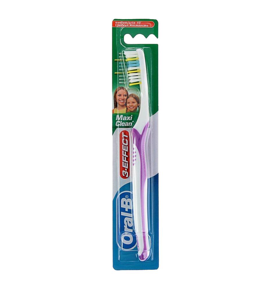 """Oral-B Зубная щетка """"3-Effect Maxi Clean"""", средняя жесткость, цвет: белый, фиолетовый"""