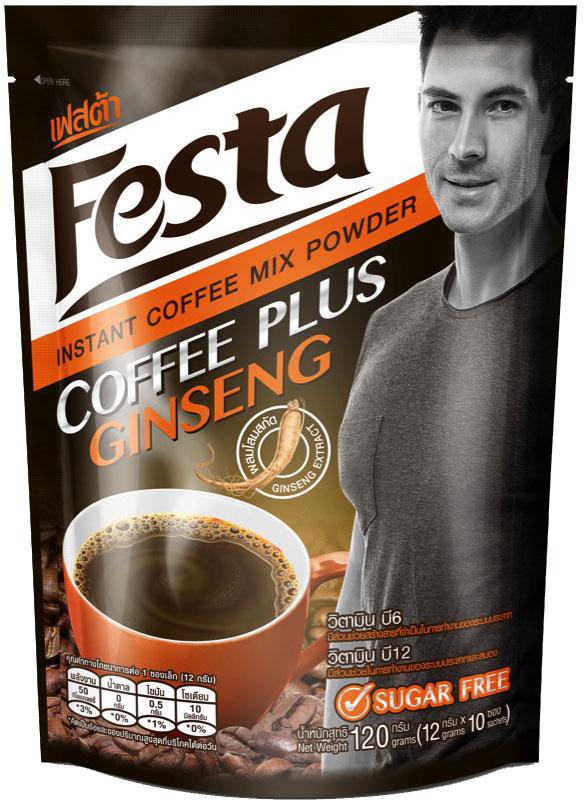 Festa Coffee Plus Ginseng растворимый кофейный напиток с женьшенем, 120 г