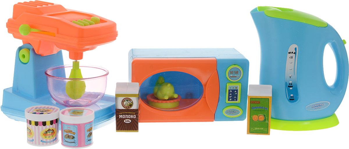 ABtoys Игровой набор Кухонная техника с продуктами 10 предметов