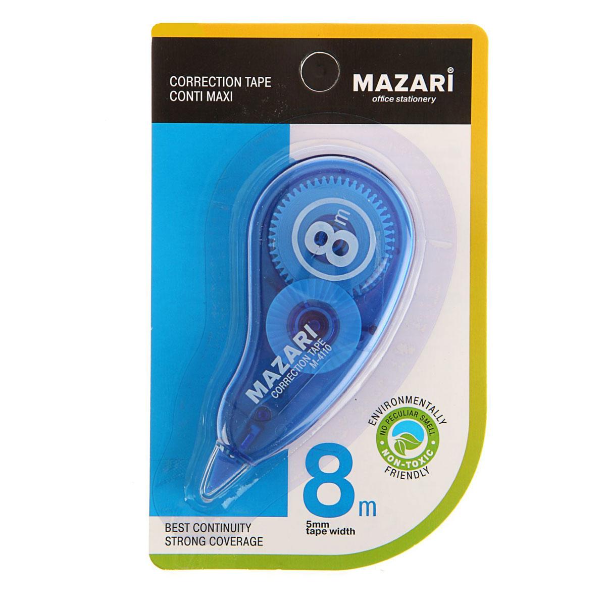 Mazari Корректирующая лента-роллер Conti Maxi 5 мм x 8000 мм цвет синийМ-4110_синийКорректирующая лента- роллер Mazari Conti Maxi предназначена для корректировки текста на любом виде бумаги.Имеет эргономичный корпус, высокую укрывистость. Не имеет запаха.