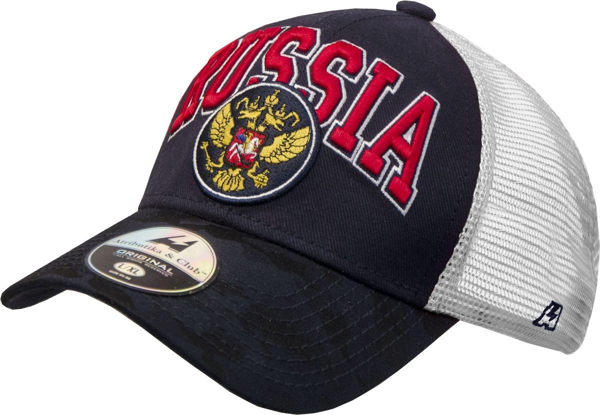 Бейсболка Atributika & Club Россия, цвет: белый, синий. 101562. Размер 55/58101562Бейсболка Россия выполнена из высококачественного материала. Модель дополнена широким твердым козырьком и оформлена объемной вышивкой. Бейсболка имеет сетчатую вставку, обеспечивающую необходимую вентиляцию. Объем изделия регулируется фиксатором.