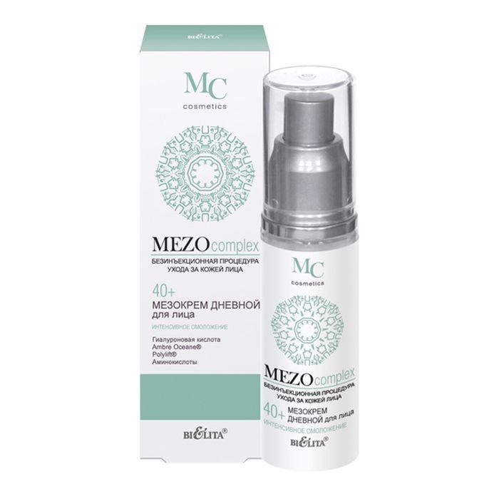 Белита Мезокрем дневной для лица 40+ Интенсивное омоложение MEZOcomplex, 50 млB-1286Дневной мезокрем эффективно разглаживает морщины, увеличивает упругость и эластичность кожи, обеспечивает лифтинг-эффект, глубоко увлажняет кожу и восстанавливает оптимальный уровень увлажненности, активизирует клеточное обновление, улучшает цвет лица, делает кожу более гладкой и сияющей.Ambre Oceane® заполняет морщины, стимулирует синтез коллагена и гиалуроновой кислоты, увеличивает упругость и эластичность кожи, усиливает клеточный метаболизм, защищает кожу от действия свободных радикалов, делает кожу более гладкой и сияющей. Polylift® обеспечивает эффект лифтинга, выравнивает микрорельеф, сокращает морщины. Гиалуроновая кислота направленного действия проникает в глубокие слои эпидермиса, обеспечивает видимый эффект разглаживания морщин путем выталкивания их изнутри, оказывая действие подобное салонной процедуре мезотерапии. Коктейль из аминокислот (таурин, глицин, аргинин) наполняет клетки кожи энергией и жизненной силой, способствует клеточной регенерации.ВНИМАНИЕ: активная формула — возможно пощипывание.