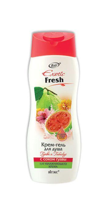 Витэкс Exotic Fresh Juise Крем-гель для душа Гуава и Гибискус, 500 млV-439-1Назначение: Очищение, Увлажнение, Питание, Все типы кожиЛиния: Exotic FreshСок гуавыбогат витаминами А, B, C и минералами поддерживает оптимальный баланс влаги, повышает эластичность и улучшает состояние кожи.Неотразимый бархатистый аромат экзотических фруктов и цветов дарит яркие эмоции и отличное настроение.