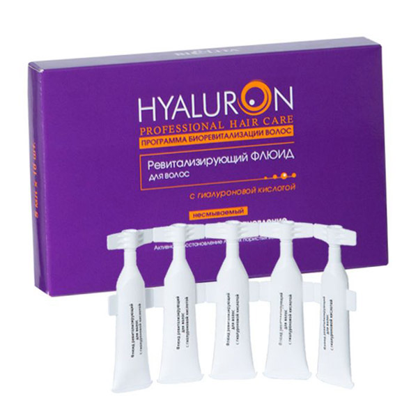 Белита Ревитализирующий ФЛЮИД для волос с гиалуроновой кислотой Hyaluron Prof HC, 5 мл 10 штВ-1167Омоложение и интенсивное увлажнение Активное восстановление ломких пористых волосРевитализирующий флюид с высокой концентрацией активных компонентов мгновенно воздействует на поврежденные пористые участки волос, способствует спаиванию посеченных кончиков и предотвращает их последующее сечение.Гиалуроновая кислота улучшает гидратацию клеток кожи головы и волос, препятствует ломкости волос, защищает от свободных радикалов. Vital Hair & Scalp Complex препятствует старению волос, питает и восстанавливает структуру пористых волос, предотвращает их выпадение. D-пантенол защищает от вредного воздействия окружающей среды. Масло розы повышает эластичность волос.для профессионального применения