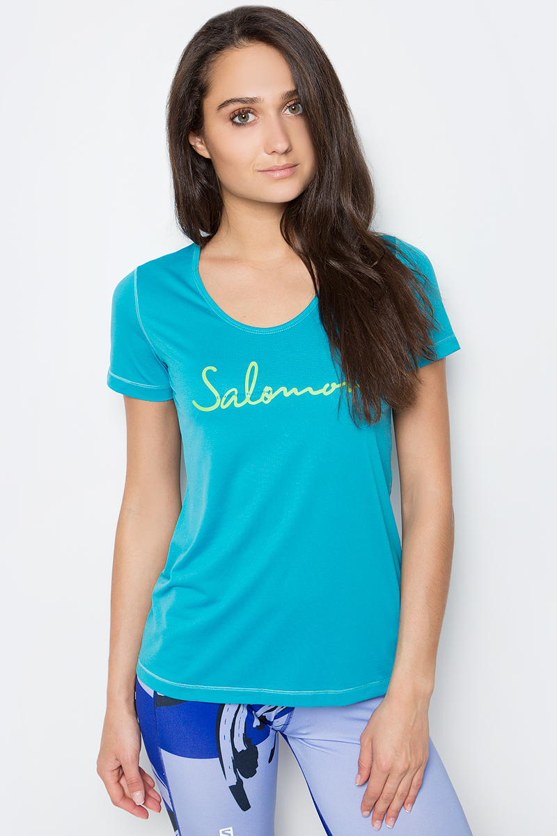 Футболка для бега женская Salomon Mazy Graphic SS Tee, цвет: бирюзовый. L39274900. Размер M (44/46) punk style solid color hollow out rhinestone leaf shape pendant necklace for women