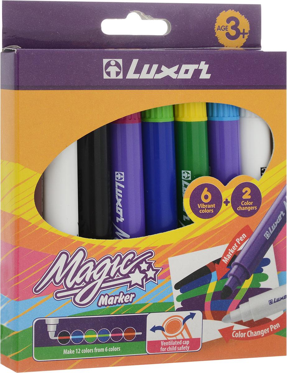 Luxor Набор фломастеров меняющих цвет Magic 8 цветов6104/Box 8Набор фломастеров, меняющих цвет. В состав набора входят шесть цветных фломастеров и два фломастера, меняющие цвет линии,нарисованной цветным фломастером.