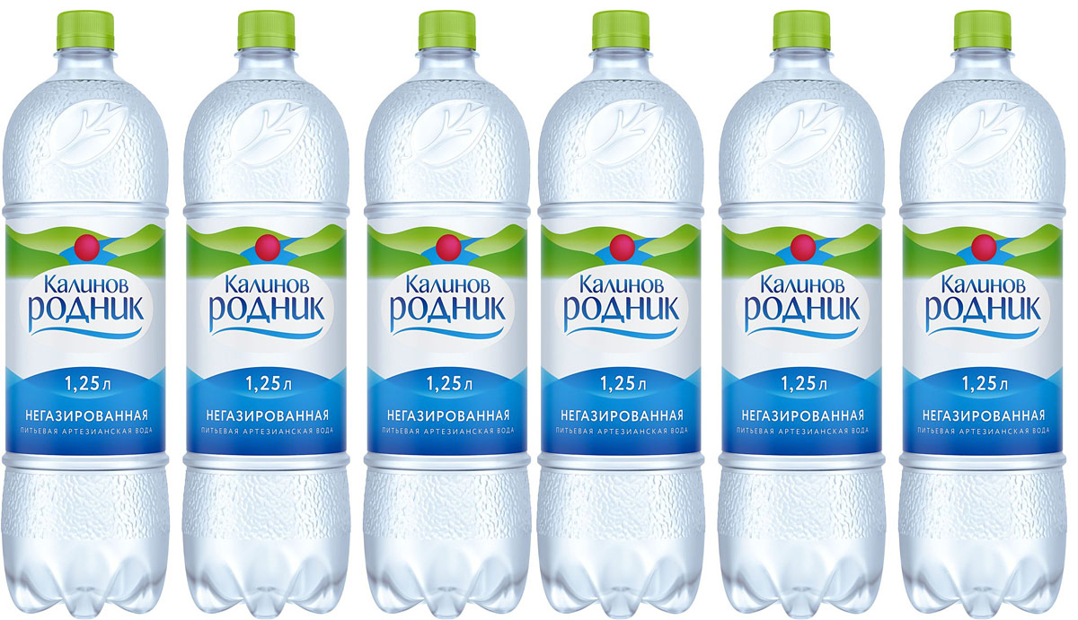 Калинов Родник вода минеральная питьевая негазированная, 6 шт по 1,25 л калинов родник морсовые ягоды клюква 1 7 л