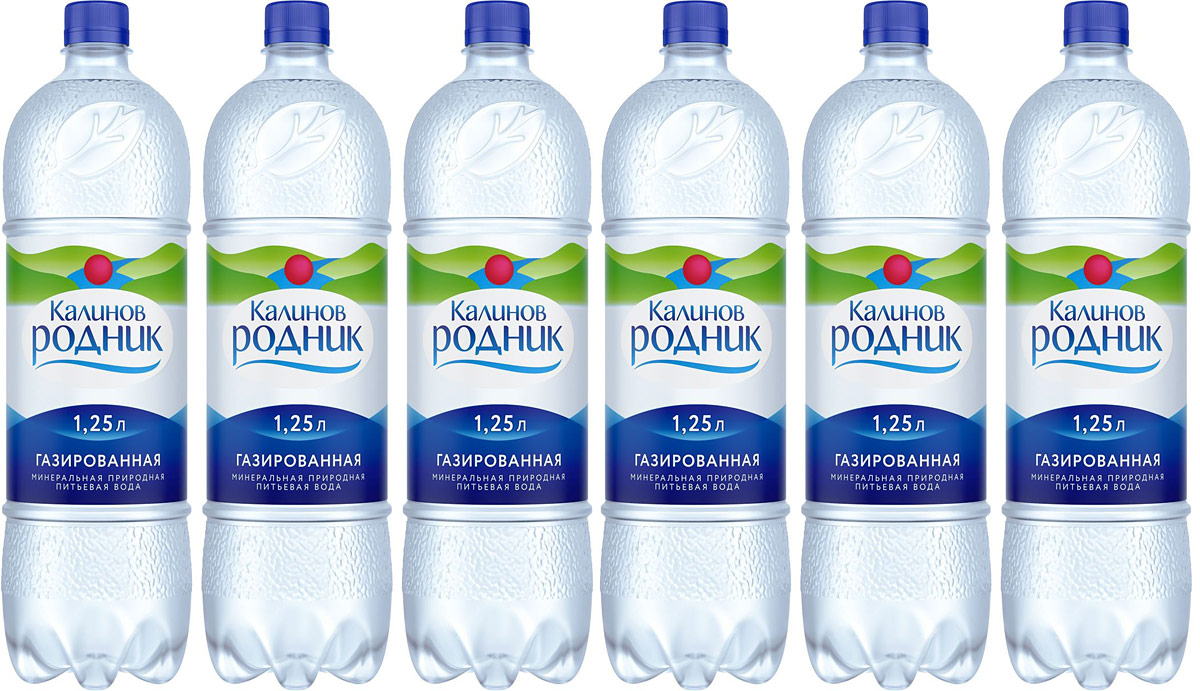 Калинов Родник вода минеральная питьевая газированная, 6 шт по 1,25 л калинов родник морсовые ягоды клюква 1 7 л