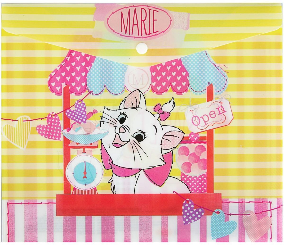 Disney Папка-конверт на кнопке Кошка Мари папка пластиковая для документов