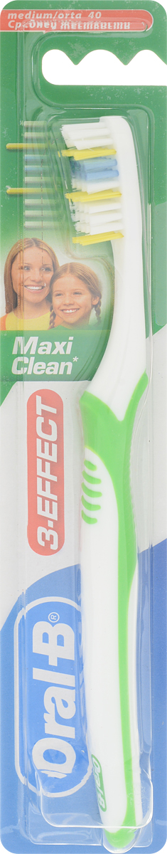 Oral-B Зубная щетка 3-Effect Maxi Clean, средняя жесткость, цвет: белый, зеленый 12v 3 pins adjustable frequency led flasher relay motorcycle turn signal indicator motorbike fix blinker indicator p34