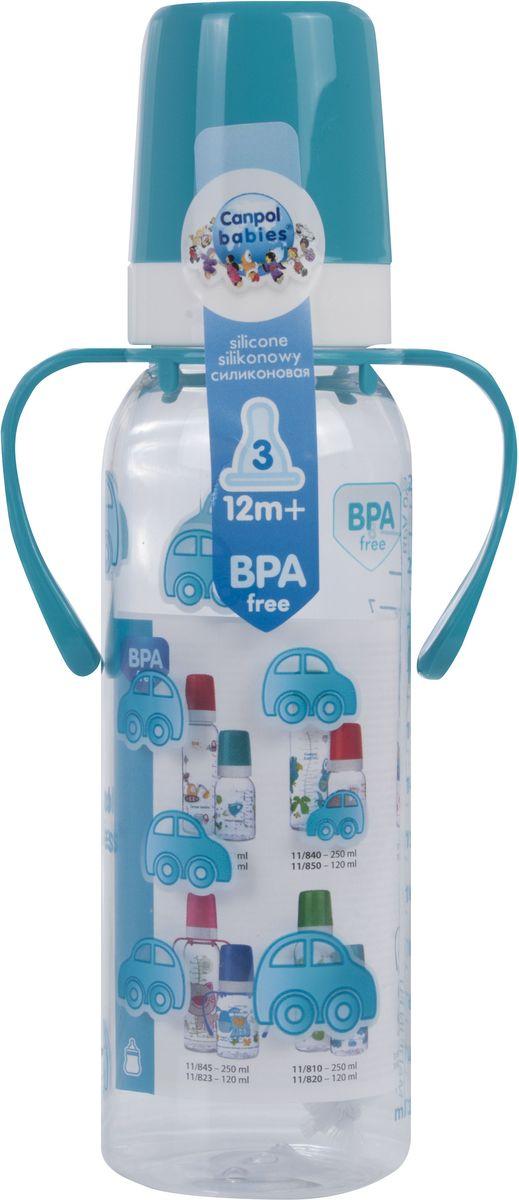 Canpol Babies Бутылочка с силиконовой соской от 12 месяцев цвет бирюзовый 250 мл