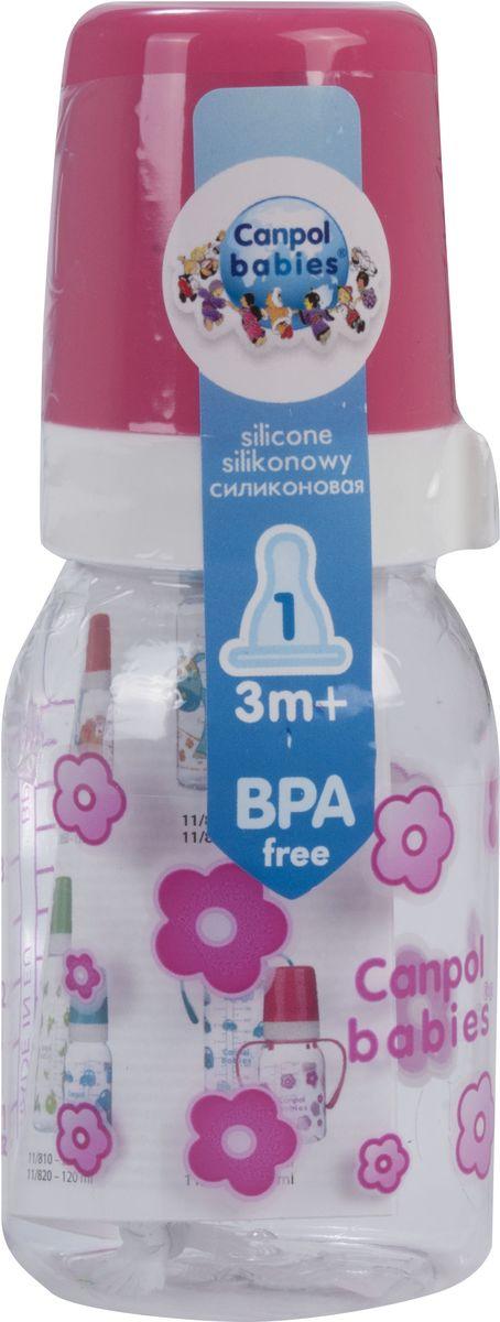 Canpol Babies Бутылочка с силиконовой соской от 3 месяцев цвет розовый 120 мл
