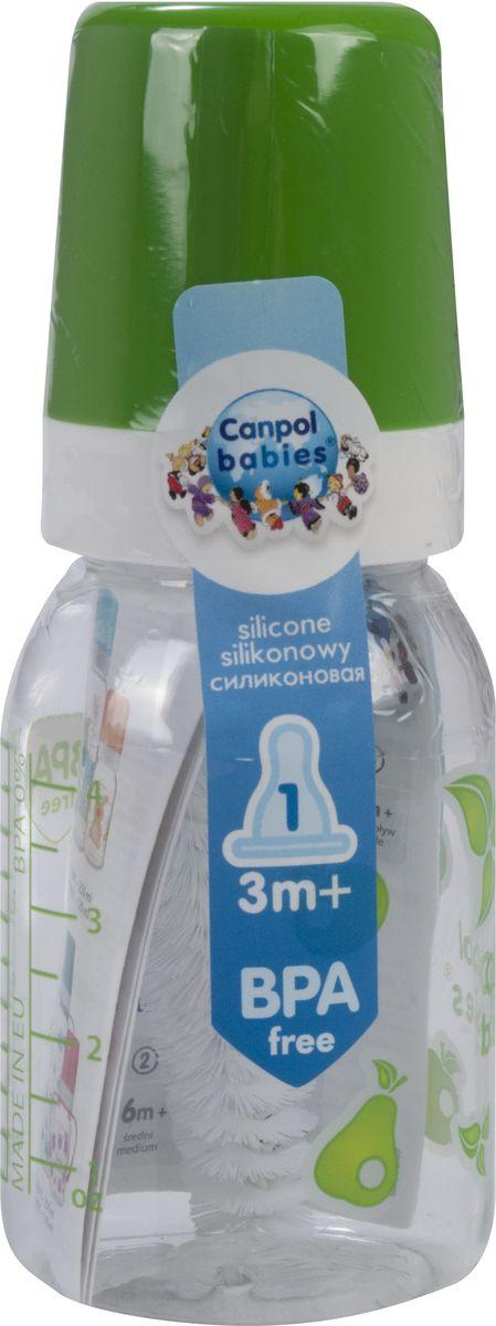 Canpol Babies Бутылочка с силиконовой соской от 3 месяцев цвет зеленый 120 мл canpol babies бутылочка зайка с силиконовой соской от 3 месяцев цвет зеленый 120 мл