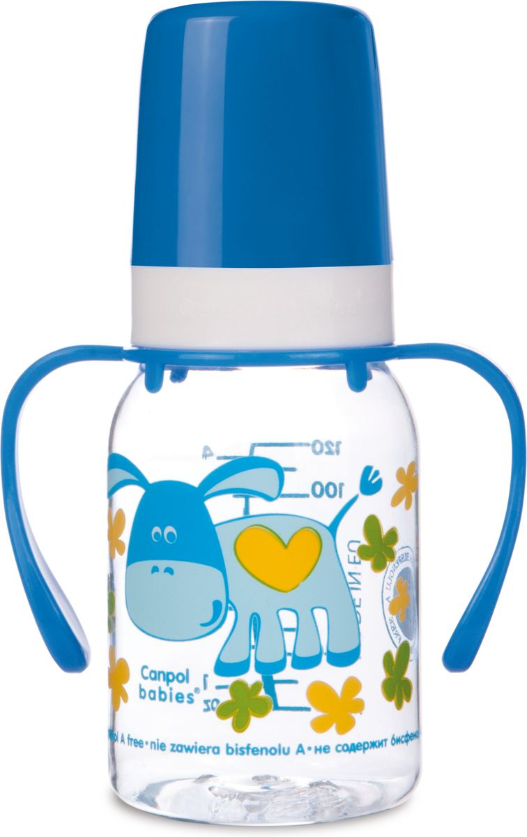 Canpol Babies Бутылочка Ослик с силиконовой соской с ручками от 3 месяцев 120 мл canpol babies бутылочка мишка с силиконовой соской от 3 месяцев 120 мл