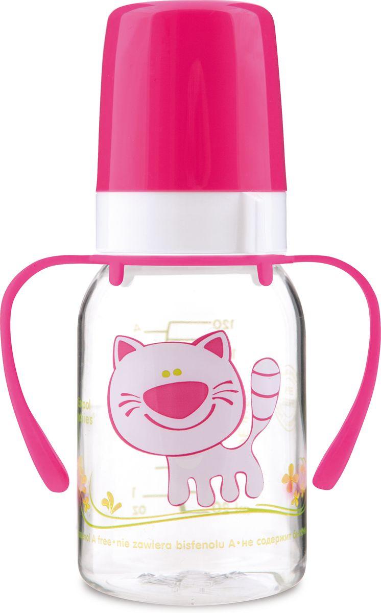 Canpol Babies Бутылочка Котенок с силиконовой соской от 3 месяцев цвет розовый 120 мл