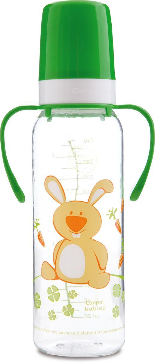 Canpol Babies Бутылочка Зайка с силиконовой соской с ручками от 12 месяцев 250 мл