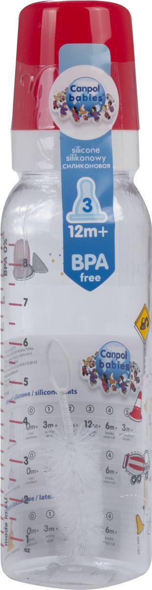Canpol Babies Бутылочка Machines с силиконовой соской от 12 месяцев цвет красный 250 мл