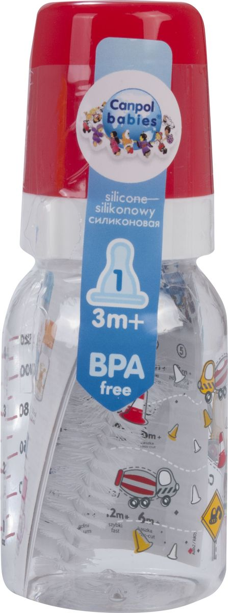Canpol Babies Бутылочка Machines с силиконовой соской от 3 месяцев цвет красный 120 мл