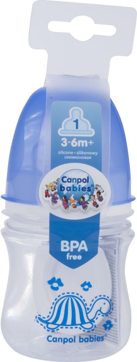 Canpol Babies Бутылочка антиколиковая Colourful Animals от 3 месяцев цвет синий 120 мл babies стульчик для кормления h 1 babies panda