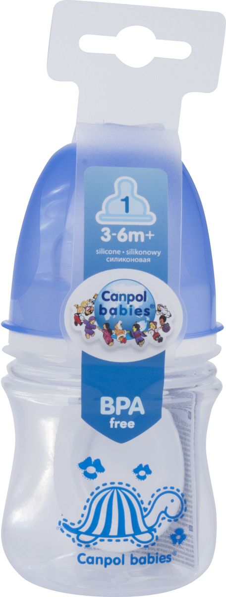 Canpol Babies Бутылочка антиколиковая Colourful Animals от 3 месяцев цвет синий 120 мл