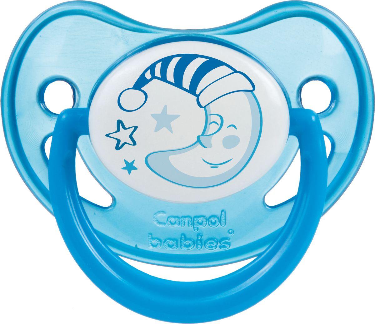 Canpol Babies Пустышка силиконовая Night Dreams от 0 до 6 месяцев цвет синий соска пустышка nuk night & day от 18 до 36 месяцев цвет салатовый синий