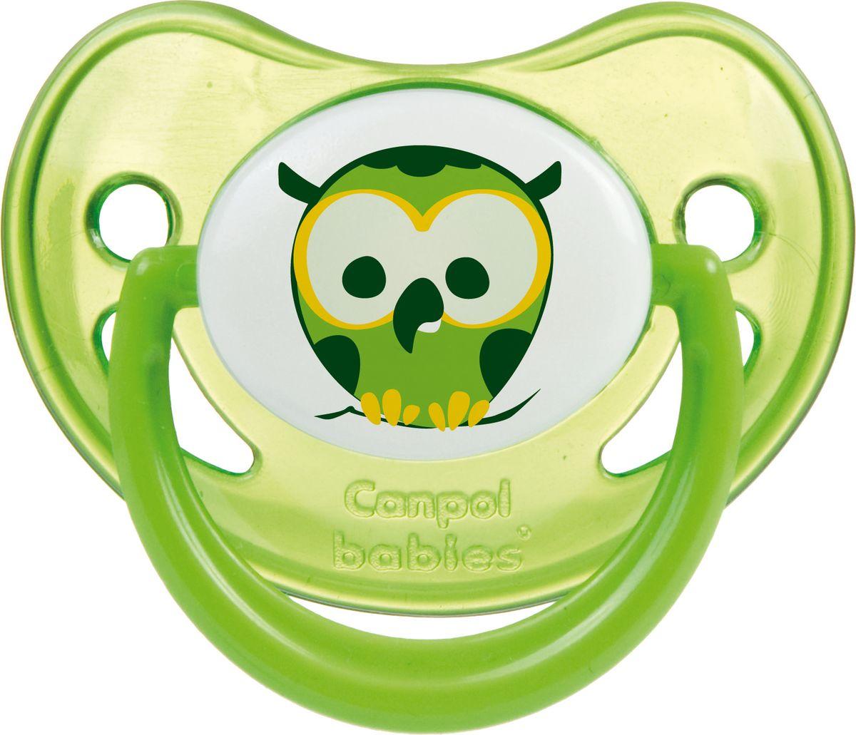 Canpol Babies Пустышка силиконовая Night Dreams от 6 до 18 месяцев цвет зеленый соска пустышка nuk night & day от 18 до 36 месяцев цвет салатовый синий