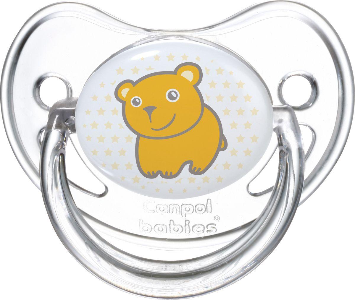 Canpol Babies Пустышка силиконовая круглая Transparent Мишка от 0 до 6 месяцев