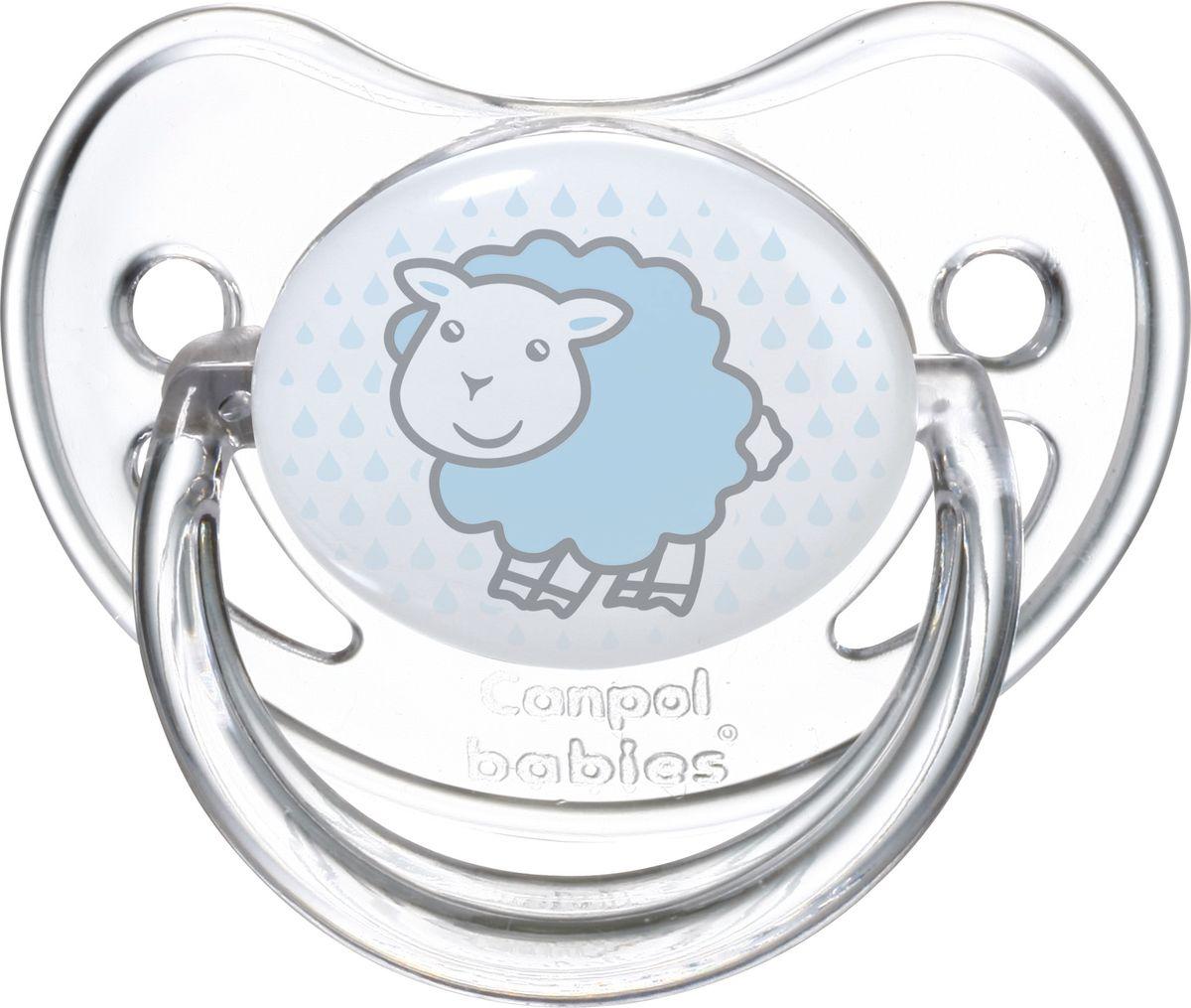 Canpol Babies Пустышка силиконовая круглая Transparent Овечка от 6 до 18 месяцев