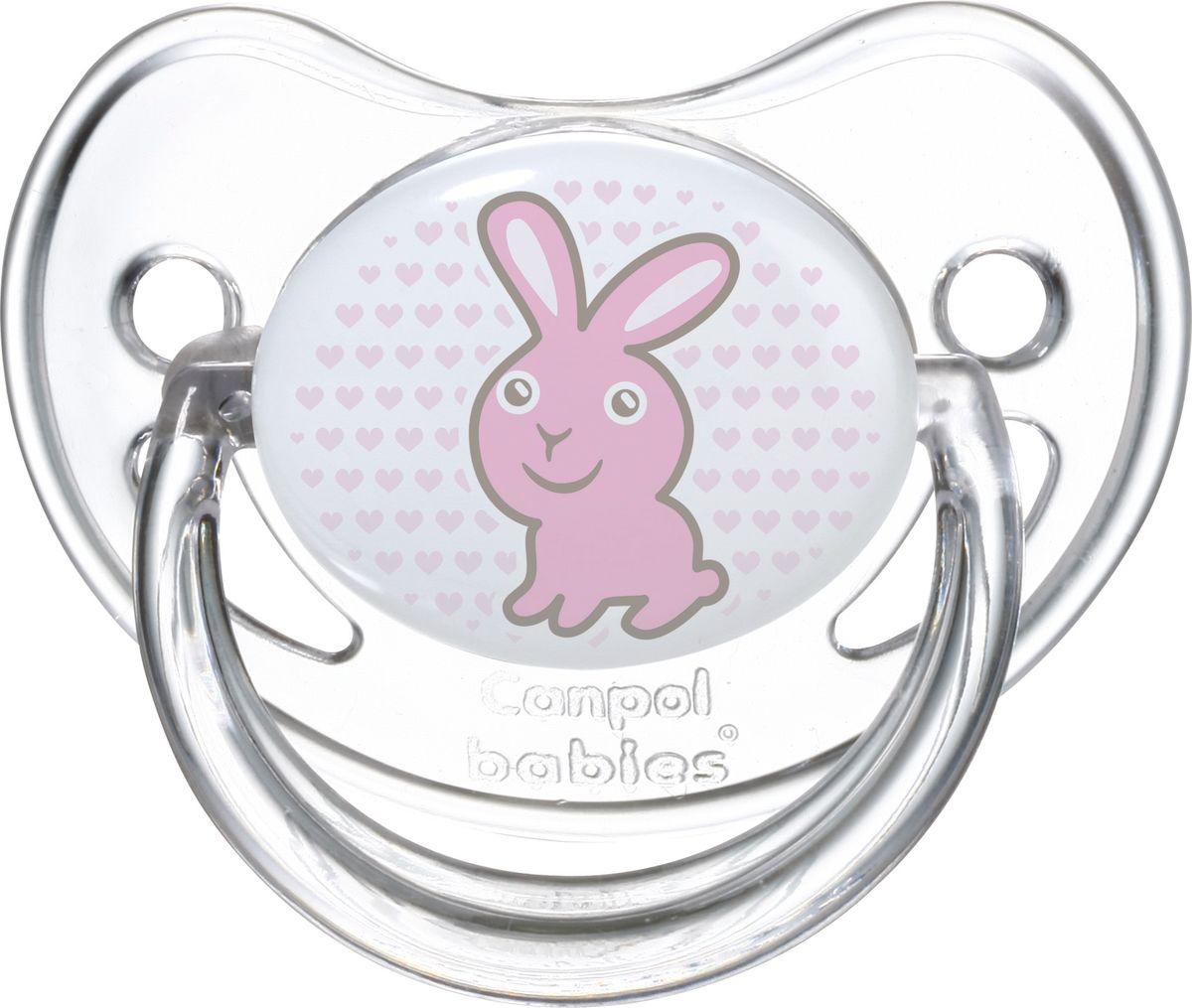Canpol Babies Пустышка силиконовая круглая Transparent Зайка от 6 до 18 месяцев