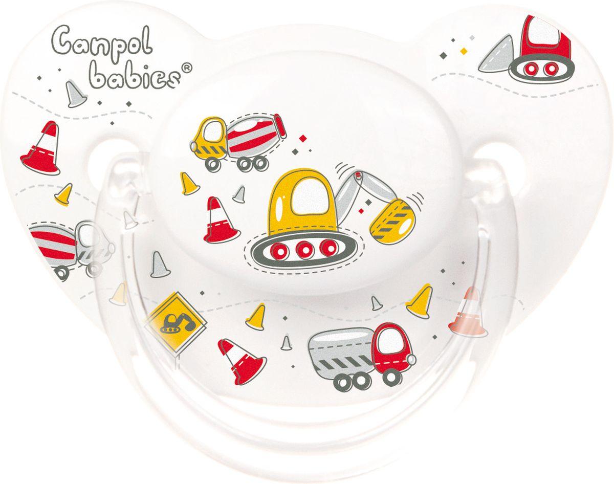 Canpol Babies Пустышка силиконовая ортодонтическая Machines от 6 до 18 месяцев цвет белый